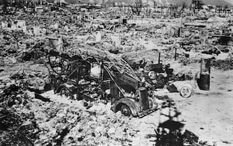 (Original Caption) 1945-Hiroshima, Japan-A view of Hiroshima after the explosion of the Atomic Bomb. Photograph, 1945.