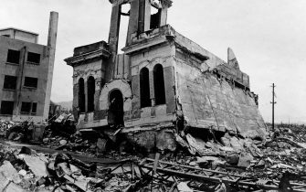 A destroyed building in Hiroshima. August 1945. This area is near the hypocenter of the A-bomb blast. The bomb  Little Boy , was dropped on Hiroshima by an American B-29 bomber, the Enola Gay, flown by Colonel Paul Tibbets, directly killing an estimated 80,000 people. By the end of the year, injury and radiation brought the total number of deaths to 90,000-166,000. Photo: Shigeo Hayashi. Hiroshima, Japan. (Photo By Galerie Bilderwelt/Getty Images)