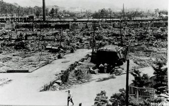 Hiroshima, Japan in ruins after the dropping of the atomic bomb, August 6, 1945. August 1945. People have built a shelter. The bomb  Little Boy , was dropped on Hiroshima by an American B-29 bomber, the Enola Gay, flown by Colonel Paul Tibbets, directly killing an estimated 80,000 people. By the end of the year, injury and radiation brought the total number of deaths to 90,000-166,000. Hiroshima, Japan. (Photo By Galerie Bilderwelt/Getty Images)