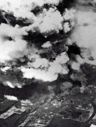 Shortly after 8:15 am. 6th August 1945. Looking down on the rising smoke from the atomic explosion above the city of Hiroshima from an U.S. Air Force bomber from the 509th Composite Group. By the time this photo was taken, the flash of light and intense heat from a fireball 370 m (1,200 ft) diameter had already taken place, and an intense shockwave radiating out faster than the speed of sound was dissipating, having done most of its damage to ground structures and people in a circle 3.2 km (2 mi) in diameter. Hiroshima, Japan. (Photo By Galerie Bilderwelt/Getty Images)