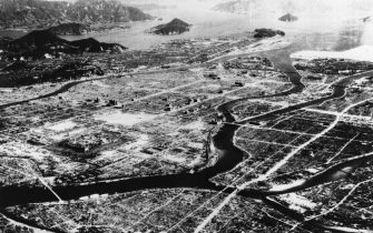 An aerial view of Hiroshima showing the devastation caused by a single atomic bomb dropped on the city on August 6th 1945.   (Photo by Keystone/Getty Images)