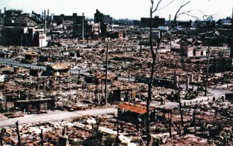 The ruins of central Hiroshima, September 1945. On 6th August that year, the atomic bomb 'Little Boy', was dropped on Hiroshima by an American B-29 bomber, the Enola Gay, flown by Colonel Paul Tibbets and directly killing an estimated 80,000 people. By the end of the year, injury and radiation brought the total number of deaths to 90,000-166,000. Hiroshima, Japan. (Photo By Galerie Bilderwelt/Getty Images)