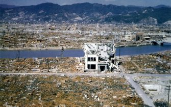 Color photograph showing damage in Hiroshima some eight months after the atomic bombing of August 6, 1945. March 1946. A few buildings are still standing and some telephone or electricity poles are up. The bomb  Little Boy , was dropped on Hiroshima by an American B-29 bomber, the Enola Gay, flown by Colonel Paul Tibbets, directly killing an estimated 80,000 people. By the end of the year, injury and radiation brought the total number of deaths to 90,000-166,000. Hiroshima, Japan. (Photo By Galerie Bilderwelt/Getty Images)
