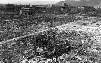 1945:  The aftermath of the bombing at Nagasaki.  (Photo by MPI/Getty Images)