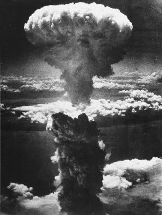 376900 09: (FILE PHOTO) A dense column of smoke rises more than 60,000 feet into the air over the Japanese industrial port of Nagasaki, the result of an atomic bomb, the second ever used in warfare, August 8, 1945, from a U.S. Air Force B-29 Superfortress. (Courtesy of the National Archives/Newsmakers)