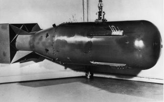 circa 1945:  An atomic bomb of the 'Little Boy' type, which was detonated over Hiroshima Japan.  (Photo by MPI/Getty Images)