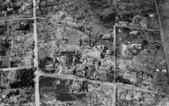 6th August 1945:  An aerial view of the atomic bomb damage at Hiroshima.  (Photo by Keystone/Getty Images)