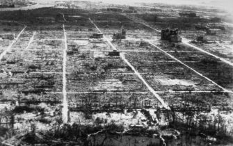 Hiroshima after the atom bomb explosion.   (Photo by Three Lions/Getty Images)