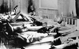 Survivors of the explosion of the Atom bomb at Hiroshima, Japan, 1945. Beds occupied by casualties suffering the effects of radiation. On 6 August 1945, a United States Air Force B-29 bomber, codenamed 'Enola Gay' dropped the first atomic bomb over the city of Hiroshima. Some 80,000 people were killed immediately and a further 60,000 died later from radiation sickness and other after effects. (Photo by Ann Ronan Pictures/Print Collector/Getty Images)