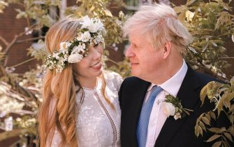 Boris and Carrie Johnson in the garden of 10 Downing Street after their wedding on Saturday.