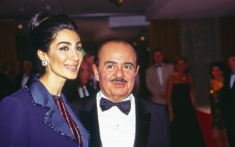 Adnan Khashoggi with wife Soraya at UNESCO Gala in Neuss, Germany 1996