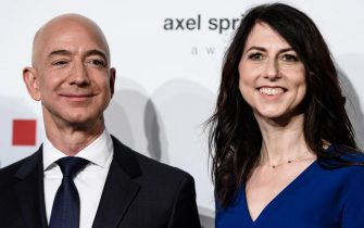 epa07609251 (FILE) - MacKenzie Bezos (R), ex-wife of Amazon CEO Jeff Bezos (L) attend the Axel Springer Award 2018, in Berlin, Germany, 24 April 2018 (reissued 29 May 2019). According to media reports, MacKenzie Bezos plans to give at least half of her fortune to charity.  EPA/CLEMENS BILAN