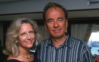 Anna Murdoch and Rupert Murdoch attend 70th Birthday Party for Malcolm Forbes in Tangier, Morocco on August 19, 1989. (Photo by Ron Galella/Ron Galella Collection via Getty Images)