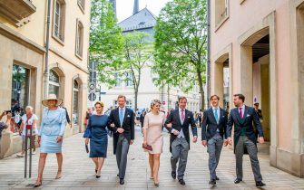 LUXEMBOURG, LUXEMBOURG - JUNE 23: Grand Duke Henri of Luxembourg, Grand Duchess Maria Teresa of Luxembourg, Hereditary Grand Duke Guillaume of Luxembourg, Hereditary Grand Duchess Stephanie, Prince Louis, Princess Alexandra of Luxembourg and Prince Sebastien of Luxembourg attend the Te Deum thanksgiving mass in the Cathedral on the National Day on June 23, 2019 in Luxembourg, Luxembourg. (Photo by Patrick van Katwijk/Getty Images)
