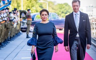 LUXEMBOURG, LUXEMBOURG - JUNE 23: Grand Duke Henri of Luxembourg and Grand Duchess Maria Teresa of Luxembourg arrive at the Philiarmonie for the concert on the National Day on June 23, 2019 in Luxembourg, Luxembourg. (Photo by Patrick van Katwijk/Getty Images)