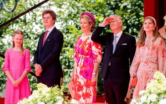 BRUSSELS, BELGIUM - JULY 21: King Philippe of Belgium, Queen Mathilde of Belgium, Princess Elisabeth of Belgium, Prince Gabriel of Belgium and Princess Eleonore of Belgium attend the National Parade in the front of the Royal palace on July 21, 2020 in Brussels, Belgium. (Photo by Patrick van Katwijk/BSR Agency/Getty Images)