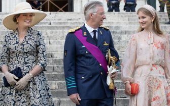 (FromL) Queen Mathilde of Belgium, King Philippe - Filip of Belgium and Crown Princess Elisabeth look on after the Te Deum mass at the Saint Michael and Saint Gudula Cathedral in Brussels, on July 21, 2020. (Photo by BENOIT DOPPAGNE / BELGA / AFP) / Belgium OUT (Photo by BENOIT DOPPAGNE/BELGA/AFP via Getty Images)