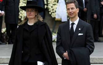 LUXEMBOURG, LUXEMBOURG - MAY 4: Hereditary Prince Alois of Liechtenstein and his wife Hereditary Princess Sophie of Liechtenstein leave the funerals of Grand Duke Jean of Luxembourg at Cathedrale Notre-Dame on May 4, 2019 in Luxembourg, Luxembourg. (Photo by Jean Catuffe/Getty Images)