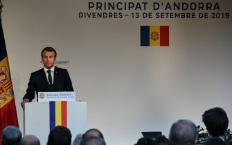 French President and Andorra co-Prince Emmanuel Macron delivers a speech in Andorra la Vella on September 13, 2019, as part to a visit to Andorra. (Photo by DOMINIQUE FAGET / AFP)        (Photo credit should read DOMINIQUE FAGET/AFP via Getty Images)