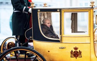 Queen Margrethe II of Denmark is escorted by the Gardehusar Regiment's Horseskort in the gold carriage from Christian IX's Palace, Amalienborg to Christiansborg Palace in Copenhagen for the New Year's reception on January 3, 2020. (Photo by Ida Guldbaek Arentsen / Ritzau Scanpix / AFP) / Denmark OUT (Photo by IDA GULDBAEK ARENTSEN/Ritzau Scanpix/AFP via Getty Images)