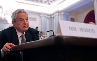 WASHINGTON - JUNE 03:  (L-R) George Soros, Chairman of the Soros Fund Management, participates in a Senate Commerce, Science and Transportation Committee hearing on Capitol Hill, June 3, 2008 in Washington DC.  The committee is hearing testimony on energy market manipulation and federal enforcement regimes.  (Photo by Mark Wilson/Getty Images)