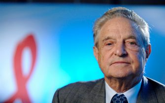 George Soros, CEO and Chairman of the Soros Foundations Network, speaks with Grant Clark of BET News about the contributions of his organization to the global fight against the AIDS pandemic, at the New York offices of the Soros Foundations Network on October 4, 2006 in New York City. (Photo by Jemal Countess/WireImage)