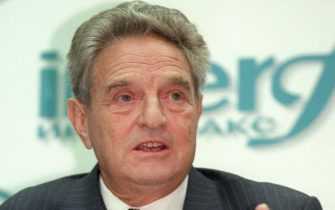 American financier George Soros at a press conference Monday Oct. 20, 1997 where he announced plans to pour another dlrs 300 million to dlrs 500 million in philanthropic aid to Russia. Soros concluded a two-week tour of the country. (Photo by David Brauchli)