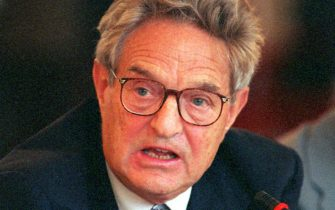 369015 01: Financier and philanthropist George Soros, who founded the Open Society Fund, speaks on the first day of the 1999 Forum 2000 conference, in Prague, Czech Republic, October 11, 1999. Czech President Vaclav Havel founded Forum 2000 as a means to bring distinguished thinkers from across the globe together to share ideas on intrinsic problems facing world civilization. (Photo by Sean Gallup)