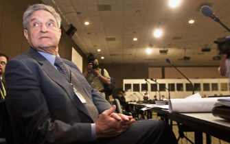 MONTERREY, MEXICO:  The well known businessman Georges Soros sits during his speech during the International Business Conference 18 March 2002 at the International Conference on Financing for Development of the United Nations in Monterrey, northern Mexico. AFP PHOTO/Jorge UZON (Photo credit should read JORGE UZON/AFP via Getty Images)