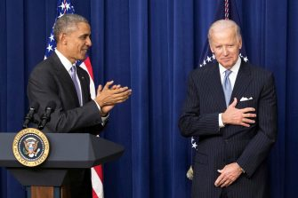 epa08362767 (FILE) - US President Barack Obama (L) applauds US Vice President Joe Biden (R) before signing the 21st Century Cures Act in the Eisenhower Executive Office Building in Washington, DC, USA, 13 December 2016 (re-issued on 14 April 2020). Former US president Barack Obama on 14 April 2020 in a video message endorsed Joe Biden for the US presidential elections.  EPA/MICHAEL REYNOLDS *** Local Caption *** 53162848