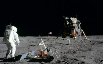 Astronaut Edwin Aldrin after deployment of Early Apollo Scientific Experiments Package (EASEP). WITNESS the iconic first moon landing in all its glory in this series of incredible colour images. The stunning pictures show astronauts Neil Armstrong and Edwin E. 'Buzz' Aldrin Jr. walking on the moon as they make 'one small step for man, one giant leap for mankind'. Other amazing shots show the American flag planted in the surface of the moon, the Apollo 11 taking off attached to a Saturn V rocket from the Kennedy Space Center in Florida and President Richard Nixon waiting for the astronauts to return. Apollo 11 was the spaceflight that landed the first two humans on the moon on 20th July 1969. Although it consisted of a three-man crew Michael Collins was the unlucky astronaut to miss out as he piloted the command module Columbia along in lunar orbit while the other two were on the surface.