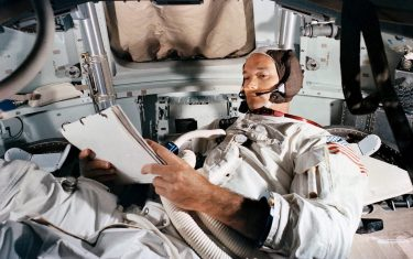 epa09165748 A handout photo made available by the NASA shows Command Module (CM) pilot Michael Collins practices in the CM simulator at Kennedy Space Center, Florida, USA, 19 June 1969 (issued 28 April 2021). The Apollo 11 crew astronaut Michael Collins has died at the age of 90, his familly announced in a statement on 28 April 2021.  EPA/NASA HANDOUT  HANDOUT EDITORIAL USE ONLY/NO SALES