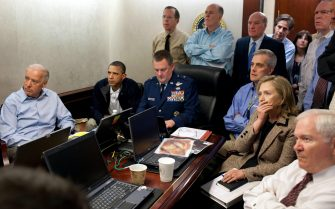 epa05706669 (FILE) - A file White House released handout photo dated 01 May 2011 shows US President Barack Obama (2-L), Vice President Joe Biden (L) and Secretary of State Hillary Clinton (2-R), along with other members of the national security team, receive an update on the mission against Osama bin Laden in the Situation Room of the White House in Washington, DC USA. On 04 November 2008, then Democratic Senator Barack Obama (Illinois), at age 47, earned 365 electoral votes and nearly 53 of the popular vote in a wider-than-expected margin of victory against Republican Senator John McCain in the US Presidential elections. He became the 44th president of the United States and the first African American to be elected to office. President Obama quickly became known as a progressive politician and was named the 2009 Nobel Peace Prize laureate nine months after his inauguration. However, he faced his share of challenges during his 8-year tenure. The Republicans held control of the Senate throughout his time in the White House and he faced constant challenges passing legislation. His administration is generally known for pursuing policies such as gun control, greater inclusiveness for LGBT Americans, the promotion of the 2015 Paris Agreement on global climate change and the Obamacare health care program for Americans. It is also known for a series of historic initiatives in international relations such as a nuclear deal with Iran and normalized relations with Cuba.  EPA/PETE SOUZA / WHITE HOUSE HANDOUT Please note: a classified document seen in this photograph has been obscured. HANDOUT EDITORIAL USE ONLY/NO SALES