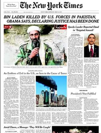 La prima pagina del New York Times con la notizia dell'uccisione di Osama bin Laden, 2 maggio 2011. ANSA