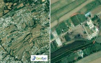 epa02714641 A handout one-meter resolution image (L) and detail (R) released by GeoEye show a walled compound in Abbottabad, Pakistan where Osama bin Laden was killed by US forces. The image was collected by the IKONOS satellite on 02 May 2011 at 10:51 a.m. local time while flying 423 miles above the Earth at an average speed of 17,000 mph, or four miles per second.  EPA/GEOEYE / HANDOUT  HANDOUT EDITORIAL USE ONLY/NO SALES