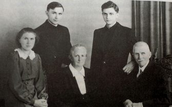 UNDATED - JULY 8, 1951: (FILE PHOTO) (GERMANY OUT, AUSTRIA OUT, SWITZERLAND OUT)  Joseph Ratzinger (2nd R) is shown with his family; brother Georg (2nd L), father Josef (R), sister Maria (L,) and mother Maria on the day of the two brothers' ordination to the priesthood July 8, 1951. Cardinal Joseph Ratzinger was elected Pope April 19, 2005 and has taken the name Benedict XVI.   (Photo by German Catholic News Agency KNA via Getty Images)