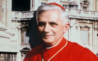 German Cardinal Joseph Ratzinger is pictured in 1977 in Vatican City. Cardinal Joseph Ratzinger, who was elected Tuesday 19 April 2005 to succeed Pope John Paul II, was a close confidant of the late pontiff and fellow conservative. The newly elected Pope Benedict XVI, who turned 78 on 16 April, will be expected to maintain John Paul II's deeply conservative line.        (Photo credit should read /AFP via Getty Images)