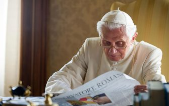 CASTEL GANDOLFO, ITALY - JULY 26:    Pope Benedict XVI reads papers in his  summer residence on July 26, 2010 in Castel Gandolfo, near Rome, Italy.  The Pontiff will visit England from September 16 - 19. (Photo by  L'Osservatore Romano - Vatican Pool via Getty Images)