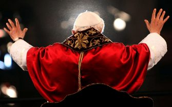 ROME, ITALY - APRIL 06:  Pope Benedict XVI waves to the faithful gathered at the Colosseum during the Way Of The Cross procession on Good Friday April 6, 2012 in Rome, Italy. The traditional Catholic procession on Good Friday recalls the crucifixion of Jesus Christ ahead of Sunday's Easter holiday. (Photo by Franco Origlia/Getty Images)