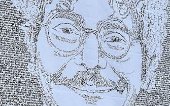 Il manifesto che ritrae il volto di Patrick Zaki affisso davanti alla sede della Giunta regionale di via Cristoforo Colombo per rimarcare un anno dallÃ?arresto del giovane. Roma, 29 gennaio 2020. ANSA/CLAUDIO PERI