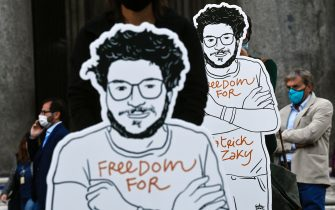 A cardboard cutout of Patrick Zaki during the silent flashmob to demand the release of the researcher Patrick Zaki, the Egyptian student of the University of Bologna in prison in Egypt since February, Rome, Italy, 23 February 2020. ANSA/RICCARDO ANTIMIANI