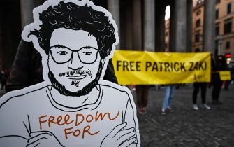 A cardboard cutout of Patrick Zaki during the silent flashmob to demand the release of the researcher Patrick Zaki from jail in Egypt, Rome, Italy, 23 February 2020. ANSA/RICCARDO ANTIMIANI