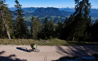 KUFSTEIN, AUSTRIA - SEPTEMBER 22: Mountainbike and hiking tour to the mountainhut Pendlinger Huette with a view on the Kaiser mountains, the river Inn, Inntal valley on September 22, 2011 in Kufstein, Austria.  (Photo by EyesWideOpen/Getty Images)