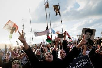 Bengasi (Libia), la città in mano ai ribelli, nasce il Consiglio Nazionale. Continua la rivolta contro il regime di Gheddafi. (BENGASI - 2011-02-27, Philippe de Poulpiquet/PHOTOPQR/ / IPA) p.s. la foto e' utilizzabile nel rispetto del contesto in cui e' stata scattata, e senza intento diffamatorio del decoro delle persone rappresentate