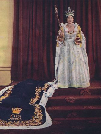 Queen Elizabeth II in coronation robes, 1953. Elizabeth II (born 1926), Queen of the United Kingdom and the other Commonwealth realms, was crowned on 2 June 1953 at Westminster Abbey in London. From The Queen Elizabeth Coronation Souvenir. [London, 1953]. Artist Sterling Henry Nahum Baron. (Photo by Print Collector/Getty Images)