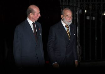 LONDON, ENGLAND - NOVEMBER 11: Prince Edward, Duke of Kent and Prince Michael of Kent attend a service marking the centenary of WW1 armistice at Westminster Abbey on November 11, 2018 in London, England. The armistice ending the First World War between the Allies and Germany was signed at Compiègne, France on eleventh hour of the eleventh day of the eleventh month - 11am on the 11th November 1918. This day is commemorated as Remembrance Day with special attention being paid for this years centenary.  (Photo by Leon Neal/Getty Images)