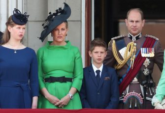LONDON, ENGLAND - JUNE 08:  (L-R) Lady Louise Windsor, Sophie, Countess of Wessex, James Viscount Severn and Prince Edward, Earl of Wessex during Trooping The Colour, the Queen's annual birthday parade, on June 8, 2019 in London, England.  (Photo by Chris Jackson/Getty Images)