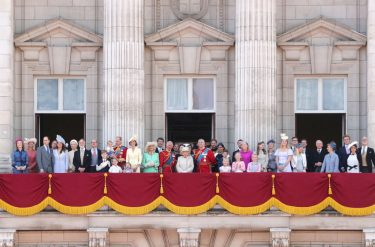 LONDON, ENGLAND - JUNE 08: (L-R) Albert Windsor, Britain's Prince William, Duke of Cambridge holding Prince Louis, Prince George, Princess Charlotte, Britain's Catherine, Duchess of Cambridge, Britain's Camilla, Duchess of Cornwall, Vice Admiral Timothy Laurence, Britain's Prince Charles, Prince of Wales, Britain's Princess Beatrice of York, Britain's Princess Anne, Princess Royal,, Britain's Queen Elizabeth II, Britain's Princess Eugenie of York, Britain's Lady Louise Windsor, Britain's Prince Andrew, Duke of York,, Britain's Prince Harry, Duke of Sussex, Britain's Meghan, Duchess of Sussex, Isla Phillips, James, Viscount Severn, Savannah Phillips, Peter Phillips, Autumn Phillips, Lyla Gilman, Eloise Taylor and Britain's Lady Helen Taylor stand with other members of the Royal Family on the balcony of Buckingham Palace to watch a fly-past of aircraft by the Royal Air Force during Trooping The Colour, the Queen's annual birthday parade, on June 08, 2019 in London, England. (Photo by Chris Jackson/Getty Images)