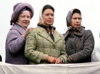 BADMINTON, UNITED KINGDOM - APRIL 14 : Queen Elizabeth, The Queen Mother, Princess Margaret and Queen Elizabeth II attend the Badminton Horse Trials on April 14, 1973 in Badminton, England. (Photo by Anwar Hussein/Getty Images)