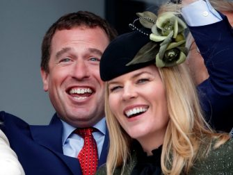 CHELTENHAM, UNITED KINGDOM - MARCH 10: (EMBARGOED FOR PUBLICATION IN UK NEWSPAPERS UNTIL 24 HOURS AFTER CREATE DATE AND TIME) Peter Phillips and Autumn Phillips watch the racing as they attend day 1 'Champion Day' of the Cheltenham Festival 2020 at Cheltenham Racecourse on March 10, 2020 in Cheltenham, England. (Photo by Max Mumby/Indigo/Getty Images)